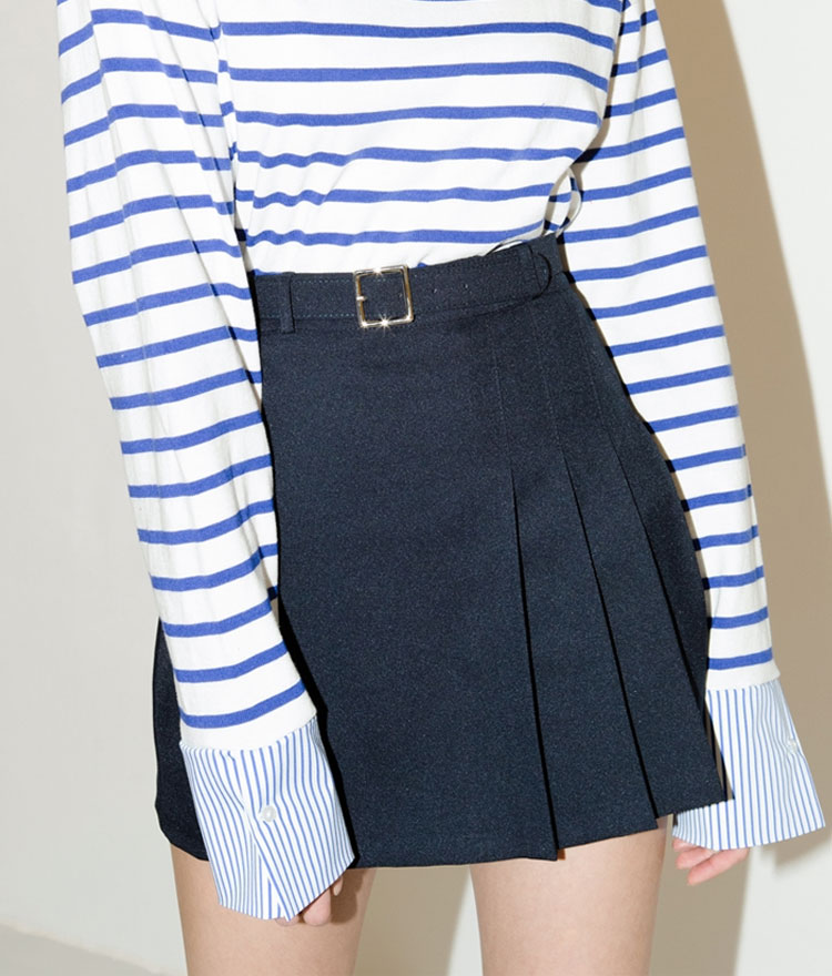SEEK Pleats Belt Skirt Pants