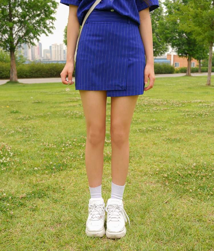 Heart Pin-stripe Skirt Pants