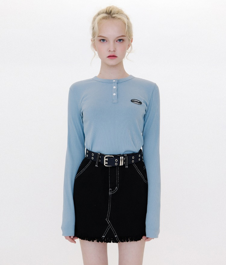 Button Henley Neck Logo Top (Blue)